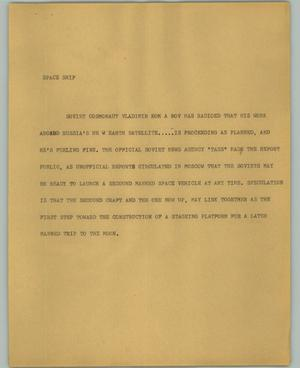 Primary view of object titled '[News Script: Space ship]'.