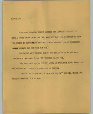 Primary view of object titled '[News Script: Taft hartly]'.