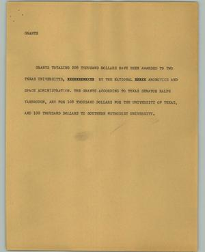 Primary view of object titled '[News Script: Grants]'.