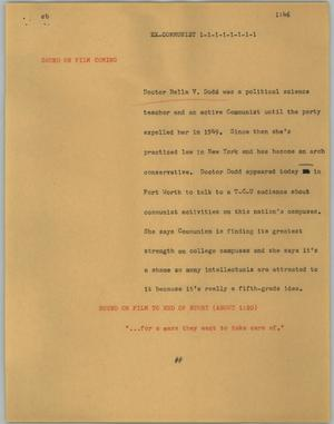 Primary view of object titled '[News Script: Ex-Communist]'.