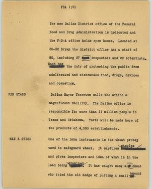 Primary view of object titled '[News Script: FDA]'.
