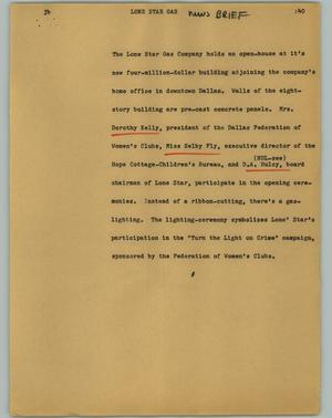 Primary view of object titled '[News Script: Lone Star Gas]'.