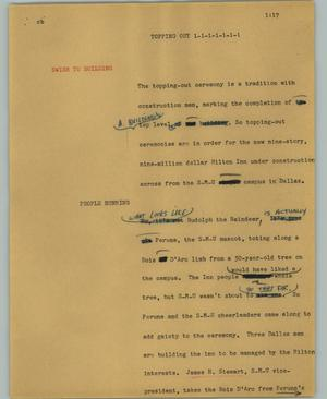 Primary view of object titled '[News Script: Topping out]'.