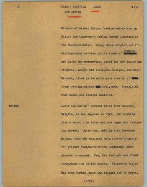 Primary view of object titled '[News Script: Neiman arrivals]'.