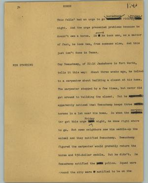 Primary view of object titled '[News Script: Horse]'.