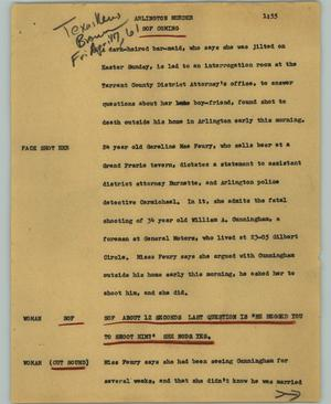 Primary view of object titled '[News Script: Arlington murder]'.