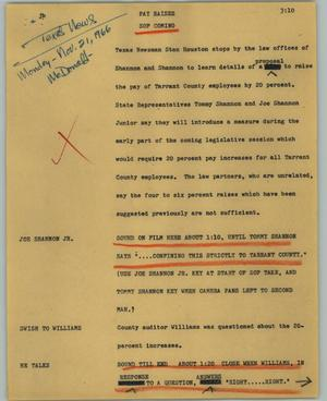 Primary view of object titled '[News Script: Pay raises]'.