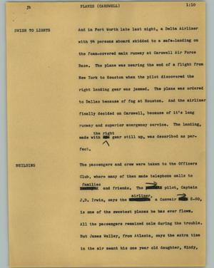 Primary view of object titled '[News Script: Planes (Carswell)]'.