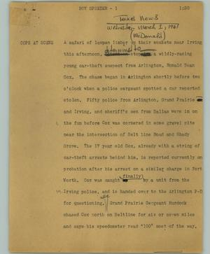 Primary view of object titled '[News Script: Boy speeder]'.