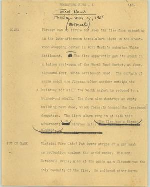 Primary view of object titled '[News Script: Foodstore fire]'.