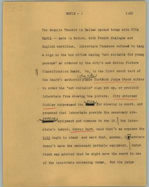 Primary view of object titled '[News Script: Movie]'.