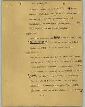 Primary view of object titled '[News Script: Hi-Y legislature]'.