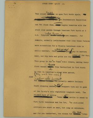 Primary view of object titled '[News Script: Stock show]'.