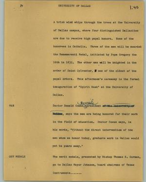 Primary view of object titled '[News Script: University of Dallas]'.