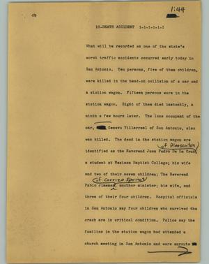 Primary view of object titled '[News Script: 10 Death Accident]'.