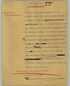 Primary view of object titled '[News Script: Crime commission]'.