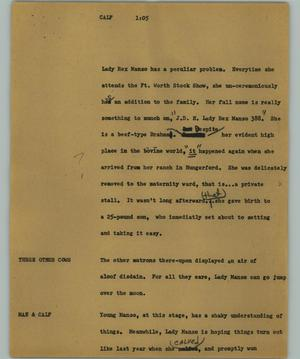 Primary view of object titled '[News Script: Calf]'.