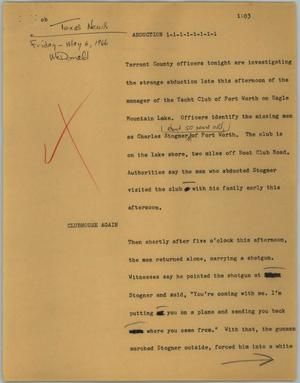 Primary view of object titled '[News Script: Abduction]'.
