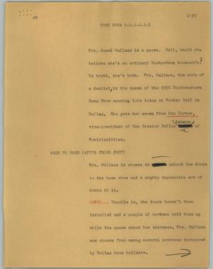 Primary view of object titled '[News Script: Home show]'.