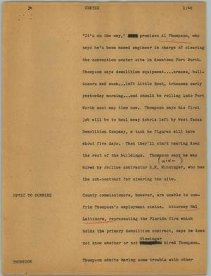 Primary view of object titled '[News Script: Center]'.