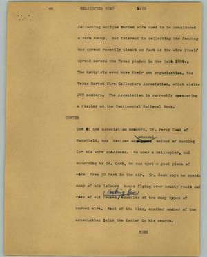 Primary view of object titled '[News Script: Helicopter hunt]'.