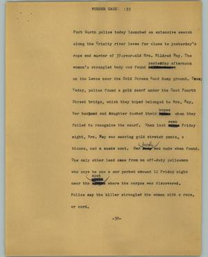 Primary view of object titled '[News Script: Murder case]'.