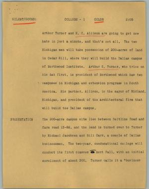 Primary view of object titled '[News Script: College]'.