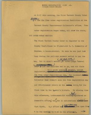 Primary view of object titled '[News Script: Voter registration]'.