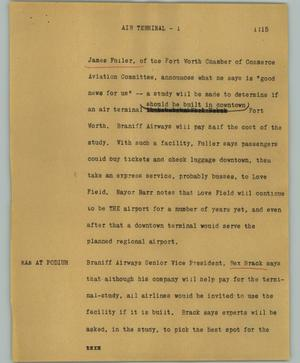 Primary view of object titled '[News Script: Air terminal]'.