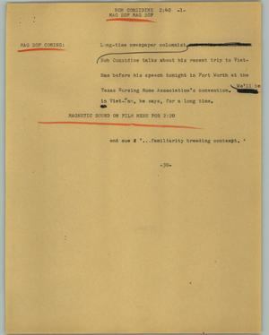 Primary view of object titled '[News Script: Bob Considine]'.