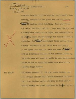 Primary view of object titled '[News Script: Kidney twins]'.
