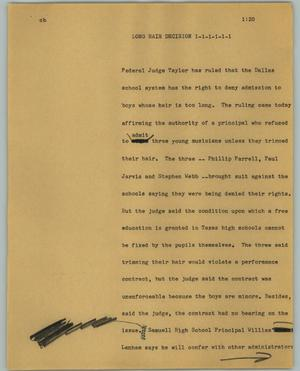 Primary view of object titled '[News Script: Long hair decision]'.