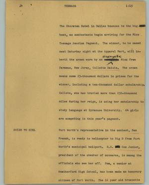 Primary view of object titled '[News Script: Teenage]'.
