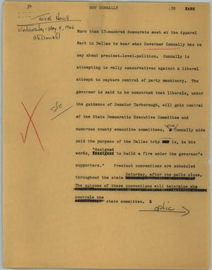 Primary view of object titled '[News Script: Gov Connally]'.