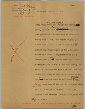 Primary view of object titled '[News Script: Education classes]'.