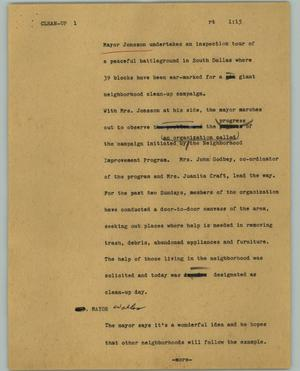 Primary view of object titled '[News Script: Clean-up]'.
