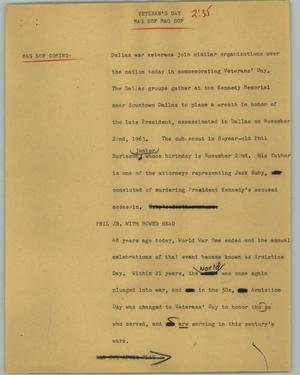 Primary view of object titled '[News Script: Veteran's Day]'.