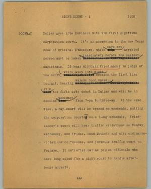 Primary view of object titled '[News Script: Night court]'.