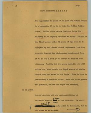 Primary view of object titled '[News Script: Young policeman]'.