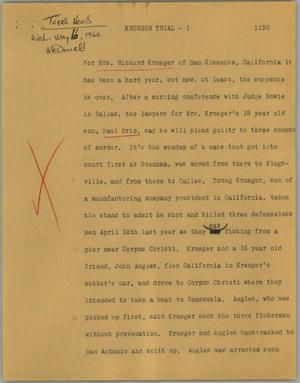 Primary view of object titled '[News Script: Krueger trial]'.