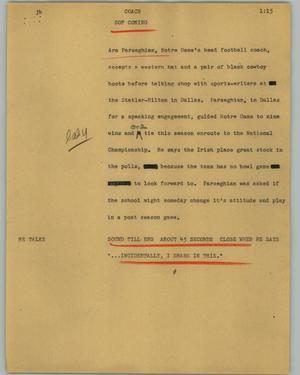 Primary view of object titled '[News Script: Coach]'.