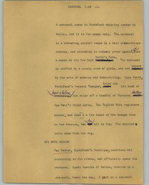 Primary view of object titled '[News Script: Carousel]'.