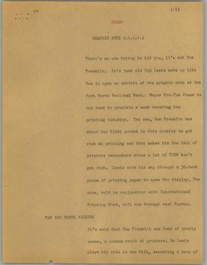 Primary view of object titled '[News Script: Graphic arts]'.