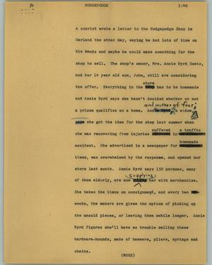 Primary view of object titled '[News Script: Hodgepodge]'.
