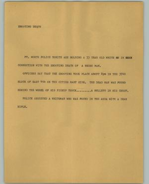 Primary view of object titled '[News Script: Shooting Death]'.