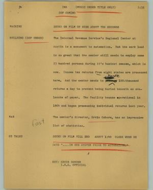 Primary view of object titled '[News Script: IRS]'.