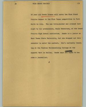 Primary view of object titled '[News Script: Miss Grand Prairie]'.