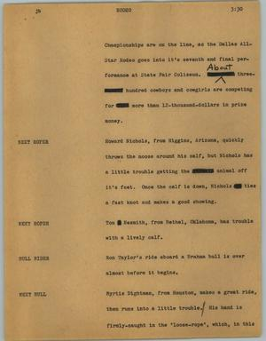 Primary view of object titled '[News Script: Rodeo]'.