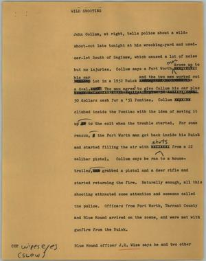 Primary view of object titled '[News Script: Wild shooting]'.