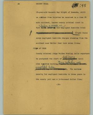 Primary view of object titled '[News Script: Wright trial]'.